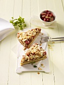 Rhubarb cake with almonds