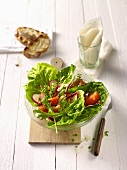 Lettuce with radishes and tomatoes
