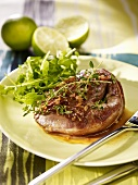 Lamb steak with herbs and rocket