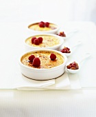 Creme brulee with foie gras and raspberries