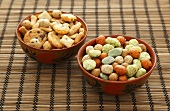 Bowls of Japanese snacks