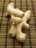Fresh ginger on a bamboo mat