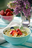 Porridge with fresh strawberries