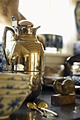 Antique silver thermos can, crockery and cutlery