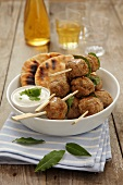 Kofta with pita bread and a yogurt dip