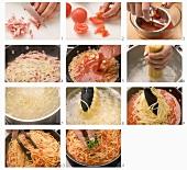Pasta all'arrabiata being prepared