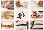 Rotbarbe mit schwarzen Oliven in Pergamentpapier zubereiten