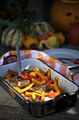 Roasted lamp chops with a pumpkin medley