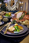 Roast turkey with brussels sprouts for Christmas dinner