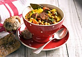 Vegetable soup with chorizo and chickpeas