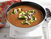 Bean soup with avocado, onions and coriander (Mexico)