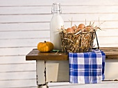Fresh eggs in a wire basket, a pumpkin and a bottle of milk on a wooden table