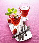 Strawberry compote with chocolate salt sticks