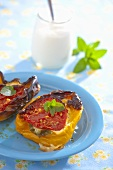 Baked peppers filled with herb quark and tomatoes
