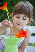A girl placing nasturtiums in a jug