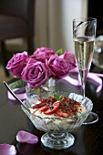 Strawberry trifle and grated chocolate