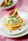 Cream goat's cheese with figs on cheese chips