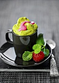 Sweet avocado cream with raspberries