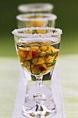 Vodka with fruit salsa