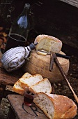 Sheep's cheese, bread and wine for camping