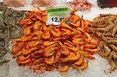 King prawns on a market stall (Mercat de St. Josep (Boqueria), Las Ramblas, Barcelona, Spain)