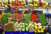 A market stall with fruit and vegetables (Mercat de St. Josep (Boqueria), Las Ramblas, Barcelona, Spain)