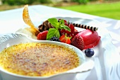 Creme brulee with lemongrass and berries