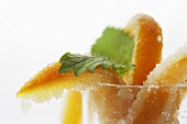 Candied orange peel with mint