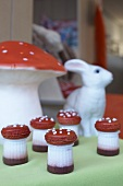 Mushrooms made from strawberry yoghurt and macarons