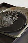 Various baking trays and cake rack