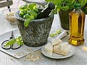 Pesto ingredients: basil, pine nuts, Parmesan cheese and olive oil