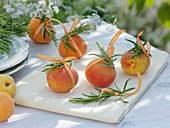 Rosemary sprigs tied to apricots with ribbon