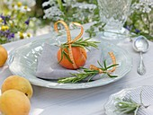 Summery place-setting with apricot and rosemary sprigs