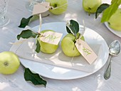 White Transparent apples with place-cards
