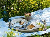 Picnic in flowery meadow (bread, fruit, bottle of water)