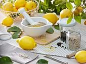 Home-made lemon pepper in mortar