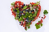 Assorted berries and leaves forming a heart