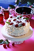 Coconut cake with cherries