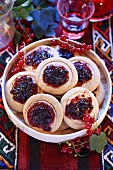 Sweet pastries with redcurrant jelly
