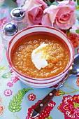 Cream of carrot soup with crème fraîche