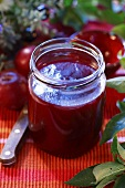 Plum jam in screw-top jar
