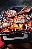 Turkey steaks on barbecue