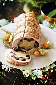 Roast turkey roll with starfruit stuffing for Christmas