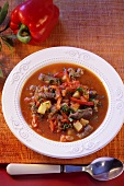 Goulash soup with potatoes and peppers