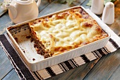 Mince lasagne in baking dish