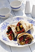 Wraps filled with barbecued vegetables