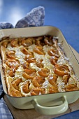 Apricot pudding in baking dish