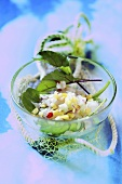 Fish tartare with beetroot leaves
