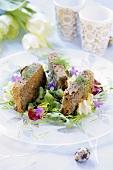 Lentil loaf on salad leaves for Easter