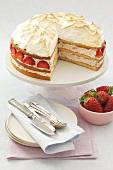 Sponge cake with mascarpone & strawberry filling & meringue topping